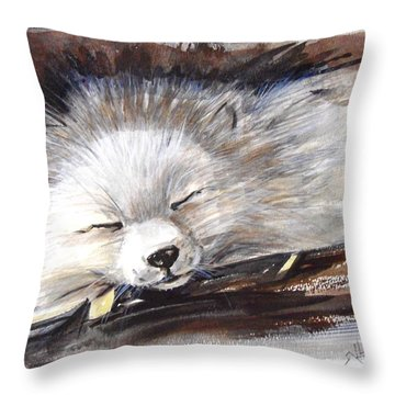 Sleepy White Fox Throw Pillow