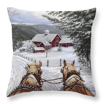 Sleigh Bells Throw Pillow by Richard De Wolfe