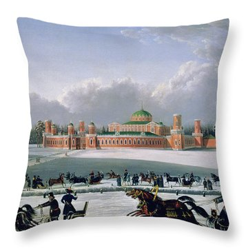 Sleigh Race At The Petrovsky Park In Moscow Throw Pillow