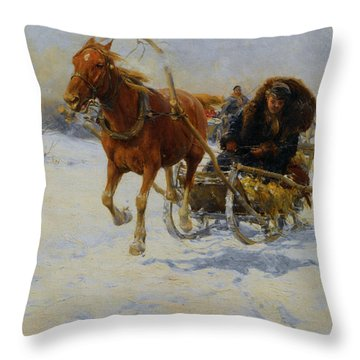 Sleigh Ride Throw Pillow by A Wierusz Kowalski