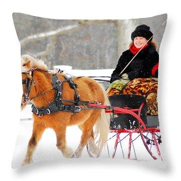 Sleigh Ride Throw Pillow by James Kirkikis