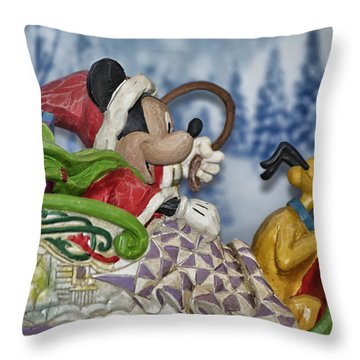 Sleigh Riding Throw Pillow by Thomas Woolworth