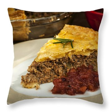 Slice Of Meat Pie Tourtiere Throw Pillow
