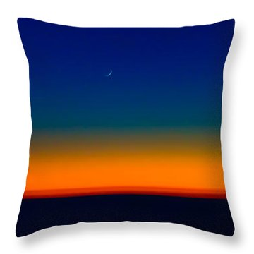 Throw Pillow featuring the photograph Slice Of Moon In The Night Sky by Don Schwartz