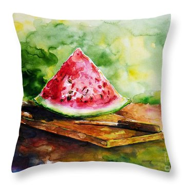 Sliced Watermelon Throw Pillow by Zaira Dzhaubaeva