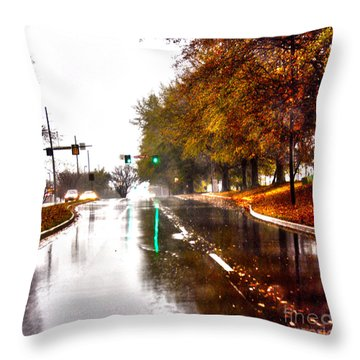 Throw Pillow featuring the photograph Slick Streets Rainy View by Lesa Fine
