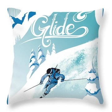 Slide And Glide Retro Ski Poster Throw Pillow