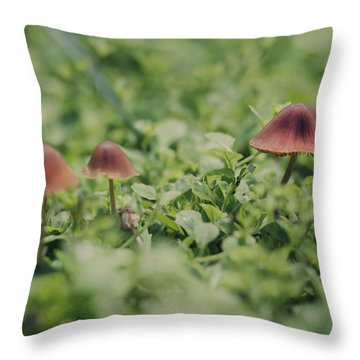Slightly Magical Mushrooms Throw Pillow by Heather Applegate