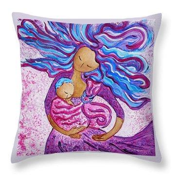 Sling Dance Motherhood Babywearing Dance Artwork Throw Pillow by Gioia Albano