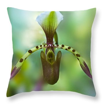 Slipper Orchid Of Selby Gardens Throw Pillow