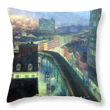 Sloan's The City From Greenwich Village Throw Pillow