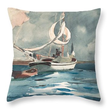 Throw Pillow featuring the painting Sloop  Nassau Bahamas by Winslow Homer