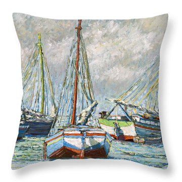 Sloops At Rest Throw Pillow