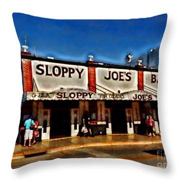 Sloppy Joe's Bar Throw Pillow by Joan  Minchak