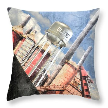 Throw Pillow featuring the digital art Sloss Furnace by Davina Washington