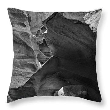 Slot Canyons In Black And White  Throw Pillow by Saija  Lehtonen