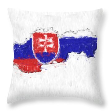 Slovakia Painted Flag Map Throw Pillow by Antony McAulay