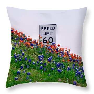 Slow Down And Smell The Bluebonnets Throw Pillow