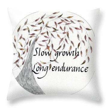 Throw Pillow featuring the drawing Slow Growth. Long Endurance. by Dianne Levy