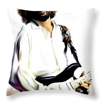 Slow Hand  Eric Clapton Throw Pillow by Iconic Images Art Gallery David Pucciarelli