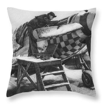 Slybird Winter Throw Pillow by Wade Meyers