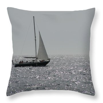 Small Boat At Sea Throw Pillow by Eva Csilla Horvath