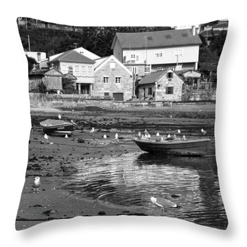 Small Boats And Seagulls In Galicia Bw Throw Pillow
