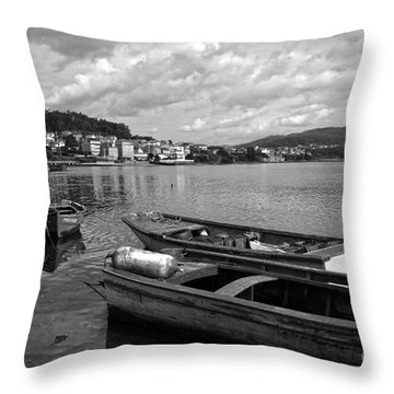 Small Boats In Galicia Bw Throw Pillow