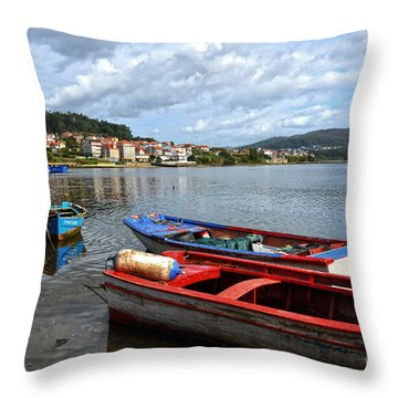 Small Boats In Galicia Throw Pillow