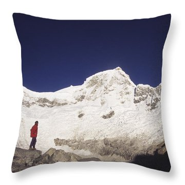 Small Climber Big Peaks Throw Pillow by James Brunker