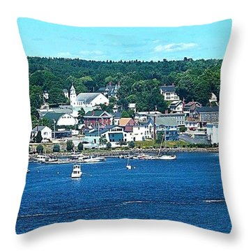 Small Coastal Town America Throw Pillow by Tara Potts