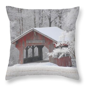 Small Covered Bridge On A Frosty Morning Throw Pillow