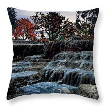 Small Falls At Sunset Throw Pillow by John Pangia