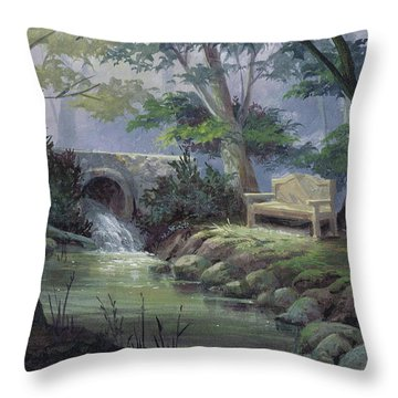 Small Falls Descanso Throw Pillow by Michael Humphries