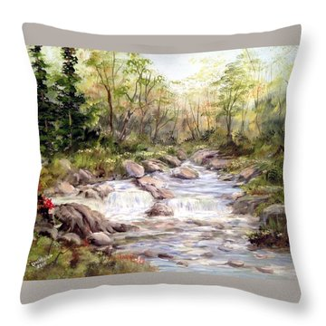 Small Falls In The Forest Throw Pillow