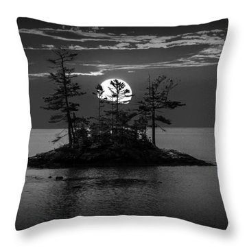 Small Island At Sunset In Black And White Throw Pillow