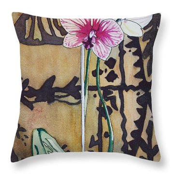 Small Orchids Throw Pillow