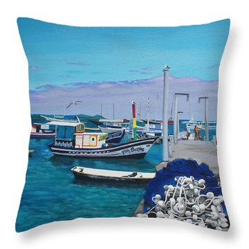 Small Pier In The Afternoon-buzios Throw Pillow by Chikako Hashimoto Lichnowsky