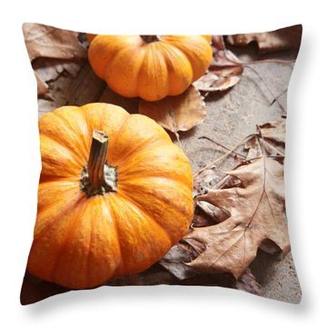 Throw Pillow featuring the photograph Small Pumpkins On Fall Leaves by Sandra Cunningham