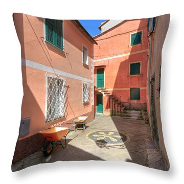 small square in Camogli Throw Pillow