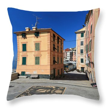 Throw Pillow featuring the photograph small square in Sori by Antonio Scarpi