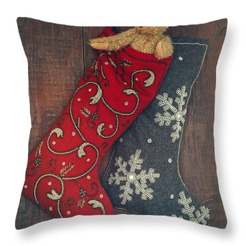 Small Teddy Bear In Stocking For Christmas Throw Pillow by Sandra Cunningham