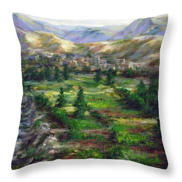 Village In The Mountain  Throw Pillow