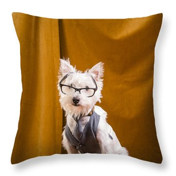 Small White Dog Wearing Glasses And Vest Throw Pillow by Edward Fielding