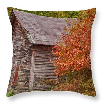 Throw Pillow featuring the photograph Small Wooden Shack In The Autumn Colors by Jeff Folger
