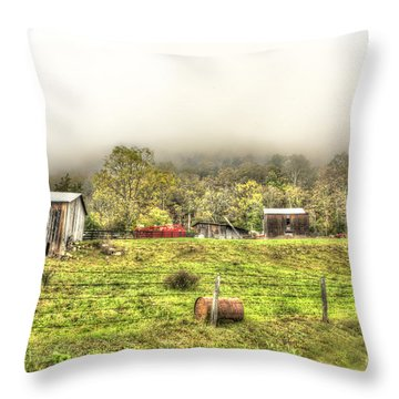 Smalll West Virginia Farm Coming Out Of Clouds Throw Pillow by Dan Friend