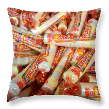 Smarties Penny Candy Throw Pillow