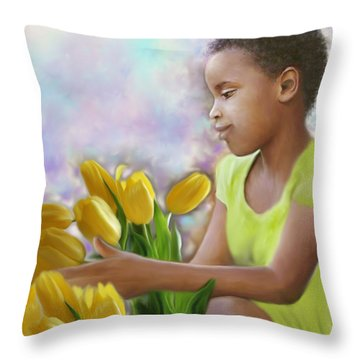 Smile 3 Throw Pillow by Kume Bryant