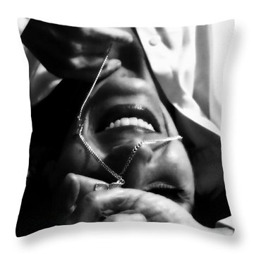 Smile A Little Throw Pillow by Kristie  Bonnewell