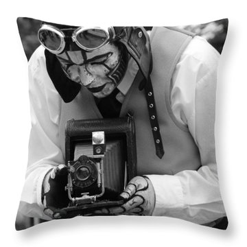 Smile For The Camera Throw Pillow by Kym Backland